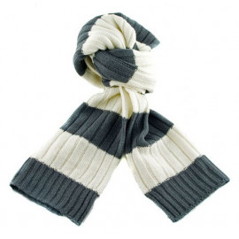 2 Coloured Stripe Scarf (GRAY & WHITE)