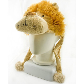 Lion New Plush Mascot Fancy Dress Costume Mask Fur Hat Cap