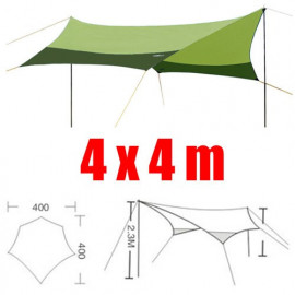 Tarp Tarpaulin Tent Shelter Heavy Duty w/ Poles & Threads 4m x 4m (DARK GREEN)