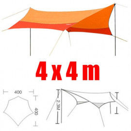 Tarp Tarpaulin Tent Shelter Heavy Duty w/ Poles & Threads 4m x 4m (ORANGE)