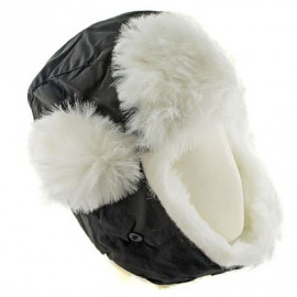 Winter Hat with Ear Flap & Fur (BLACK)