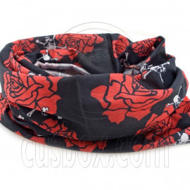 Black Red Rose Cycling Hiking Bandana Bandanna Scarf