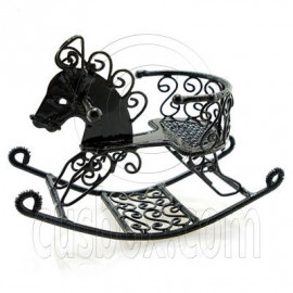 Black Wire Nursery Rocking Horse Dollhouse Miniature