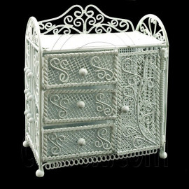 White Wire Dresser Chest with Drawer Dollhouse Furniture