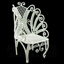 White Wire Single Chair Armchair Dollhouse Furniture