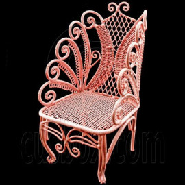 Pink Wire Single Chair Armchair Dollhouse Furniture