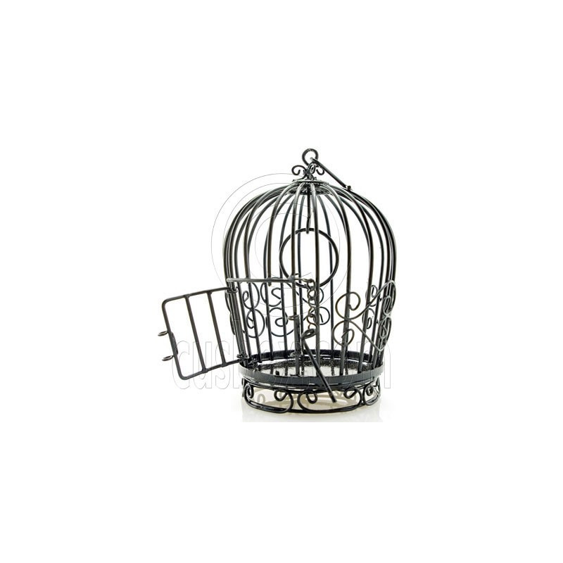 black wire birdcage bird cage with door dollhouse miniature