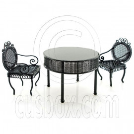 Black Wire Cafe Table Chairs Set Dollhouse Miniature