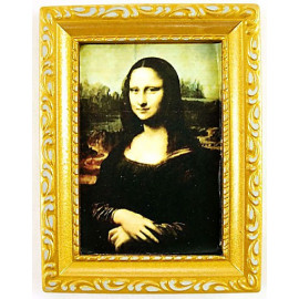 Mona Lisa Picture Framed Wall Art Dollhouse Miniature