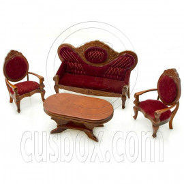 Mahogany New Queen Anne Table Chair Dollhouse Furniture