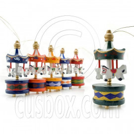 Set 6 Wood Carousel Merry Go Round Amusement Ride Pendant Charm