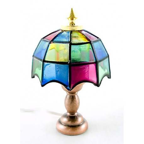 Victorian Glass 12V Desk Table Lamp Dollhouse Miniature
