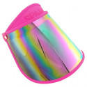 Sunlight UV Protection Reflective Mirror Visor Hat (HOTPINK)