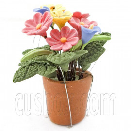 Pink Yellow Blue Clay Flower 1:12 Dollhouse Miniature