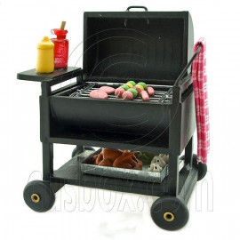 Barbeque BBQ Cart Cooking Grill New Dollhouse Miniature