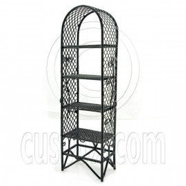 Black Garden Flower Plant Stand Dollhouse Furniture