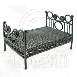 Black Wire Nursery Child Bed Doll's Dollhouse Furniture