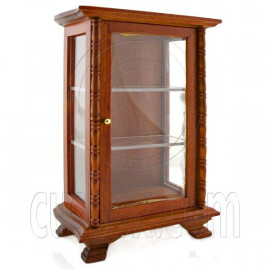 Kitchen Walnut Display Door Cabinet Dollhouse Furniture