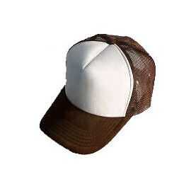 Plain Mesh Ball Cap (BROWN WHITE)