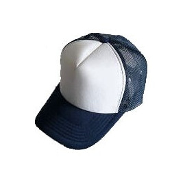 Plain Mesh Ball Cap (NAVY BLUE WHITE)
