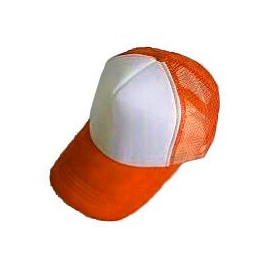 Plain Mesh Ball Cap (ORANGE WHITE)