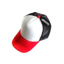 Plain Mesh Ball Cap (RED WHITE BLACK)