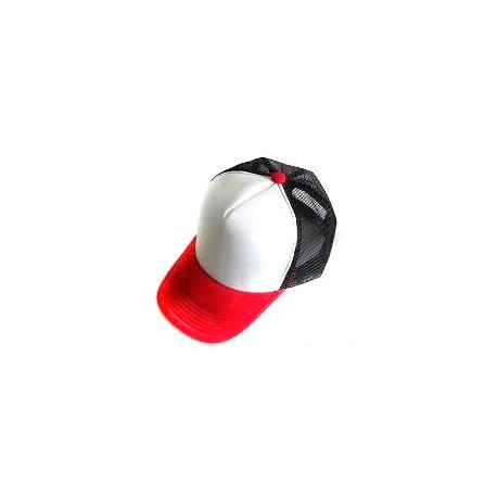 Plain Mesh Ball Cap (RED WHITE BLACK) 777092309ad