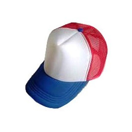 Plain Mesh Ball Cap (BLUE WHITE RED)
