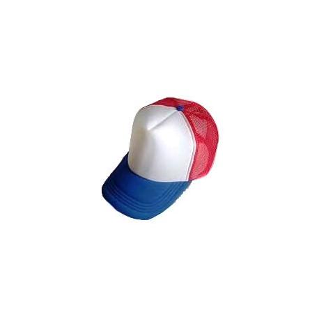 Plain Mesh Ball Cap (BLUE WHITE RED)