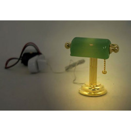 Gold Green Banker 9V 12V Desk Lamp Dollhouse Miniature