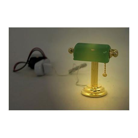 gold green banker 9v 12v desk lamp dollhouse miniature