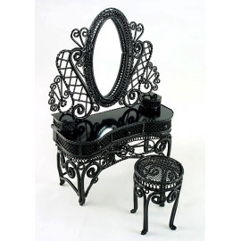 Black Wire Makeup Vanity Chair Dollhouse Furniture Set