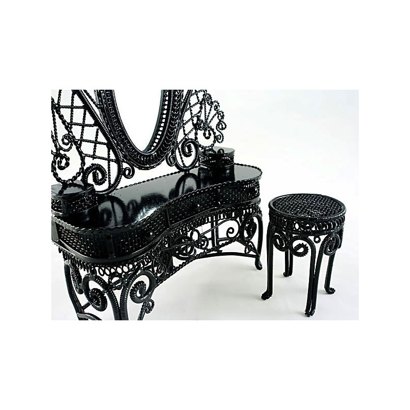 Wire Makeup Vanity Chair Dollhouse Furniture Set