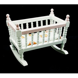 White Victorian Nursery Crib Cradle Dollhouse Furniture