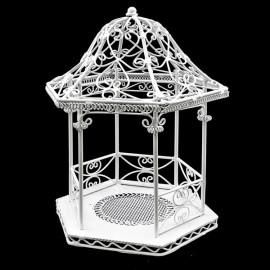 White Wire New Tropical Garden Beach Hut Jewelry Holder