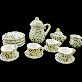 Porcelain Tea Pot Kettle Set Dollhouse Miniature 11pcs