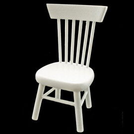 White Wood Stool Chair Dollhouse Miniature Furniture
