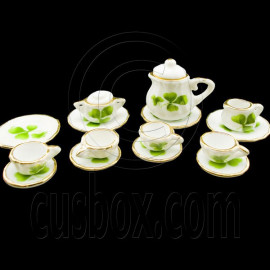 Porcelain Clover Tea Pot Kettle Set Dollhouse Miniature