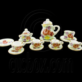 Porcelain Rose Tea Pot Kettle Set Dollhouse Miniature