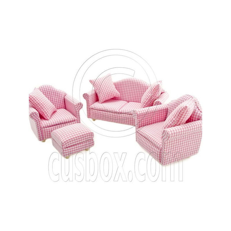 Pink Living Room Sofa New Couch Set Dollhouse Furniture