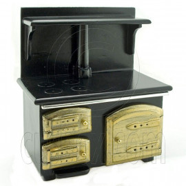 Black Wood Vintage Stove 1:12 Dolls Dollhouse Furniture