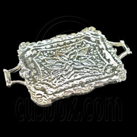 Silver Metal Food Tray 1:12 Kitchen Dollhouse Miniature