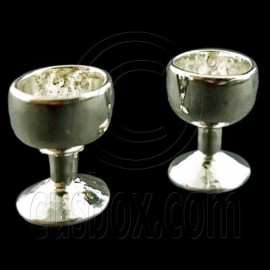 Pair Silver Metal Cup Wineglass New Dollhouse Miniature