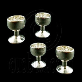 4 x Silver Metal Cup Wineglass New Dollhouse Miniature