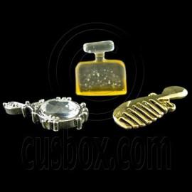 Set of 3 Mirror Perfume Comb 1:12 Dollhouse Miniature