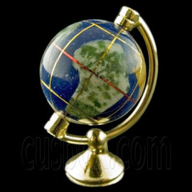 Blue Gold Metal Rolling Globe 1:12 Dollhouse Miniature