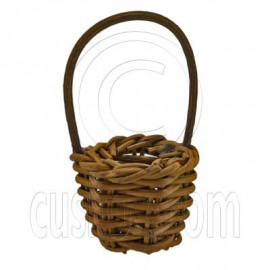 Painted Bamboo Handle Basket 1:12 Dollhouse Miniature