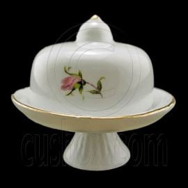 Floral Porcelain Butter Dish 1:12 Dollhouse Miniature