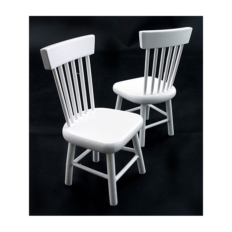 White Wood Round Table Desk Chairs Dollhouse Furniture
