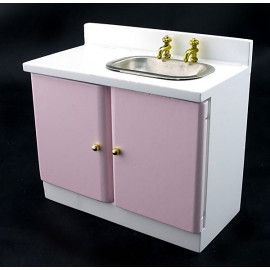 Pink New Kitchen Sink Bowl w Faucet Dollhouse Furniture